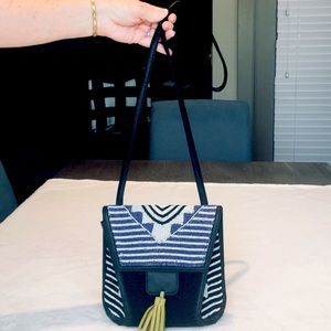 Unique STEVEN Beaded Crossbody Hipster with Leath…